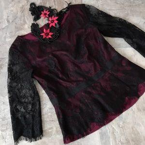 Ann Taylor lace overlay blouse
